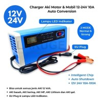 Charger Aki Mobil Motor Portable 12-24V 10A LCD Intelligent Chip