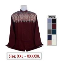 Baju Koko Jumbo Pria Muslim 31, Ukuran Big Size XXL XXXL XXXXL XXXXXL - Merah hati, 2XL
