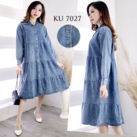 Long tunik(dress) snow Jean's wash (lembut.adem)all size fit to s.m.L
