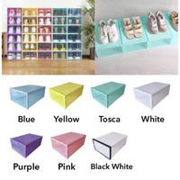 Kotak sepatu / kotak sepatu lipat / rak sepatu / kotak sepatu murah - Blue White