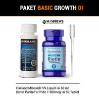 Paket Combo 01 Kirkland Minoxidil + Biotin Puritans Pride 7500mcg