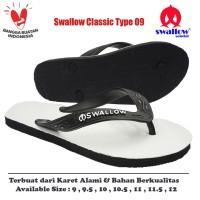 Sandal Swallow Original Tipe 09 - Putih Hitam (Size 9 - 12)