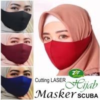 Masker SCUBA Korea Wanita Hijab / Muslimah - Bahan Kain Cutting Laser