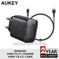 AUKEY BUNDLING PA-F1 PD Charger CB-CL1 Kabel Fast Charging Iphone