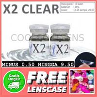 Softlens X2 Clear Minus 0,50 - 9,50 (1 Botol / Setengah pasang)