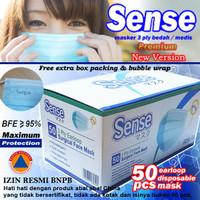 Masker 3Ply Earloop Medis Bedah 3 Ply Disposable Surgical (harga/box) - Biru