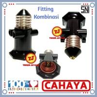 Fitting Kombinasi / Fiting Gantung Lampu/ Piting Lampu Colok 2 Cabang