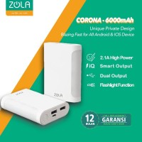 Powerbank ZOLA Corona 6000 mAh Fast Charge 2.1A Lampu LED Terang