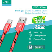 Kabel Data & Charging Type C ZOLA EPIC Fast charge 2.1A 100cm - Red