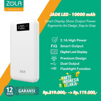 Zola Powerbank Jade Led 10000mAh Smart Led Display Fast Charging 2.1A