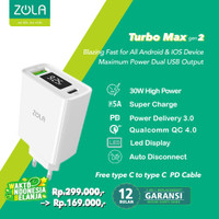 Zola Charger Turbo Max Gen2 QC 3.0 & PD For Ipad pro & Macbook Max 30W