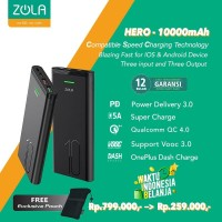 Zola Hero Powerbank 10000mAh Fast Charge VOOC 3.0,PD,QC3.0,SuperCharge