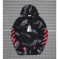 Jaket Sweater Off White Shark Zipper Hoodie Premium
