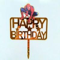 topper akrilik acrylik ulang tahun happy birthday karakter spiderman