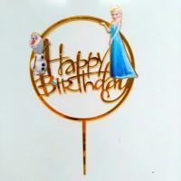 topper akrilik acrylik ulang tahun happy birthday karakter frozen