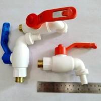 CISAL KRAN AIR PLASTIK 1/2 DRAT KUNINGAN KERAN AIR TEMBOK PVC TERMURAH