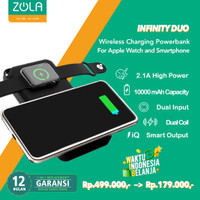 Zola Powerbank Wireless Infinity Duo 10000mAh Untuk Hp & Apple Watch