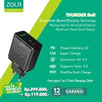 Zola Thunder Bolt Charger Fast Charging VOOC 3.0 ,PD,QC3.0,SuperCharge