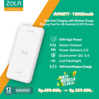 Zola Infinity Wireless Fast Charging 10W Powerbank 10000mAh PD & QC3.0