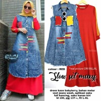 Slow set maxy maxidress dan long vest jeans