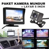 Paket Kamera Mundur Mobil Parkir Rear View Camera CCD + Monitor 5 Inch