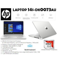 Laptop HP 14S-DK0073AU AMD A4-9125 | 4GB | 1 TB | WIN 10 | 14