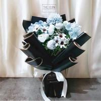Blue Mix Artificial Flower Bouquet   Buket Bunga Palsu Ultah - Single
