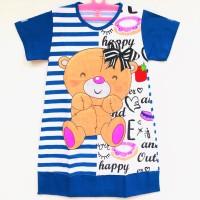 Daster Baju Tidur Anak Perempuan Gambar Teddy Bear Biru 6-10 Tahun