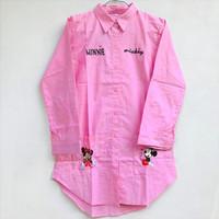 Baju Kemeja Anak Perempuan Lengan Panjang Mickey Mouse 8-12 Tahun
