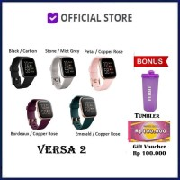 Fitbit Versa 2 Health and Fitness Smartwatch Versa2 Smart Watch - Black Carbon