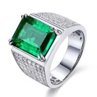 Cincin Pria Perak Sterling Silver 925 Batu Zamrud Emerald Zirconia