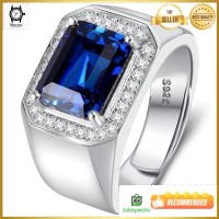 Cincin Perak Pria Sterling Silver 925 Batu Blue Safir Zirconia Resize