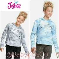 Sweater Justice Camo Lace Up Hoodie sweater anak perempuan branded kid