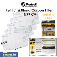Refill Filter Masker N95 N99 Activated Carbon PM 2.5 Sherlock isi 5