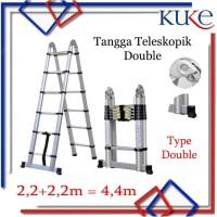 Tangga Lipat Aluminium Teleskopik 4.4M Double Telescopic Ladder 4.4M