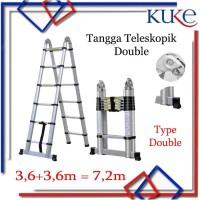 Tangga Lipat Aluminium Teleskopik 7.2M Double Telescopic Ladder 7.2M
