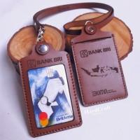 Gantungan Id Card kulit Case Id Card kulit Name Tag kuliu - Model 1 Slot