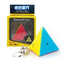 Rubik QiYi Pyraminx Keychain 3x3 Stickerless Piramida Gantungan Kunci