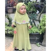 Gamis Anak Perempuan/ Baju Muslim Anak Khaireen Pom-Pom 4-12bln