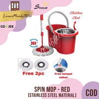 Spin Mop 360 / Alat Pel Lantai Stainless Steel -RED ,SHENAR