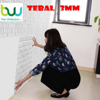 Wallpaper Dinding 3D 70 x 77 cm - Foam Bata / Kayu / Batik / Brick - 3