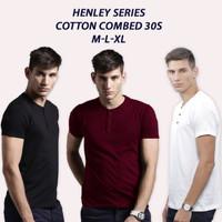 Baju Kaos Polos Pria Henley Kancing Cotton Combed 30s Lengan Pendek
