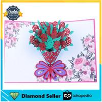 POP UP 3D CARD - Kartu Ucapan 3 Dimensi FLOWER BOUQUET - 4 Warna