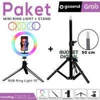 Paket RGB Ring light 10 Inch + Stand 50 CM for Selfie Vlog Streaming