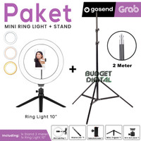 Paket Ring light 10 Inch + Stand 2M for Selfie Vlog Streaming