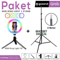 Paket RGB Ring light 10 Inch + Stand 2M for Selfie Vlog Streaming