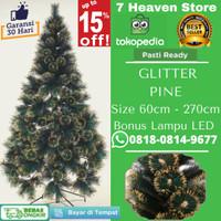 Pohon Natal Mini Lampu Natal Gliter Emas Tinggi 3ft 90 cm 90cm JD1689