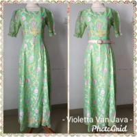 Long maxi dress motif batik hijau green flower vintage lengan pendek