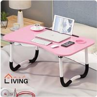 Living Mart SKRIV Meja Belajar Anak / Meja Lipat / Meja Laptop - Pink