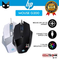 Mouse HP Wired G200 Black Optical Gaming LED Cable Design Ergonomic